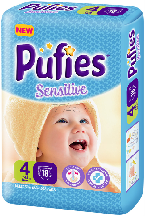 Подгузники PUFIES Sensitive 4 Maxi 7-14 кг 18 штук (16451)