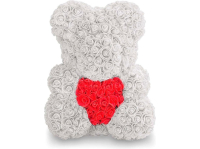 Мишка из роз TEDDY ROSE BEAR С сердцем White и Red